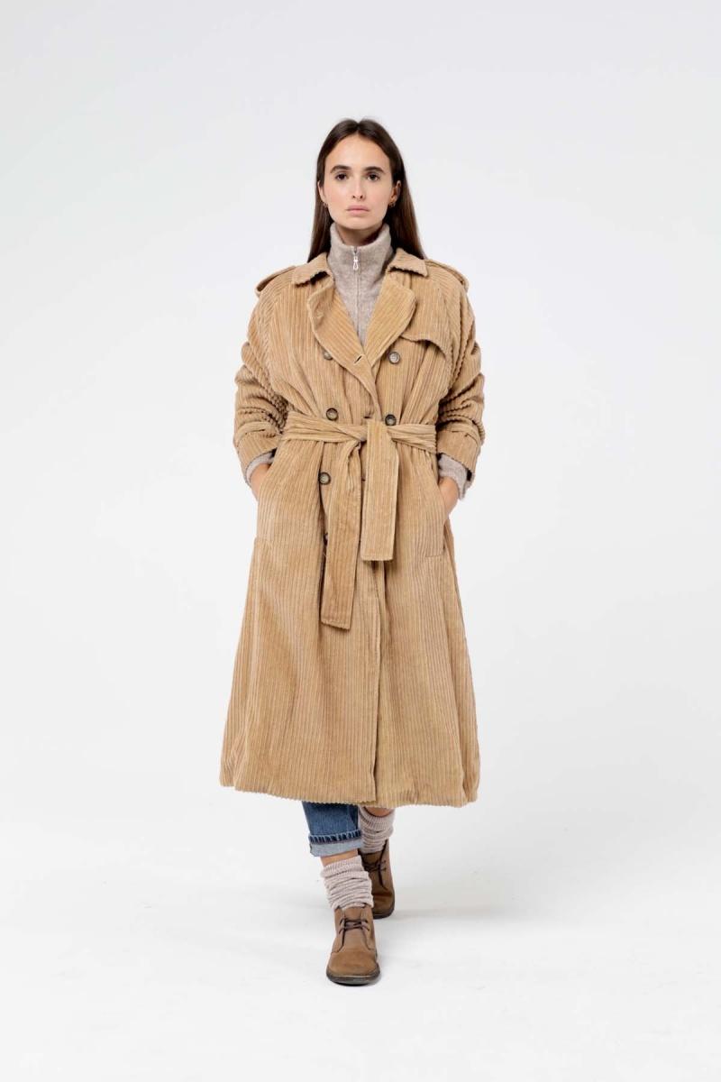 Beige Velvet Trench Coat Women Ganjy, Velvet Trench Coat For Ladies